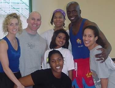 "Clint Phillips and some personal training clients with Billy Blanks, the ""Tae Bo"" guy"