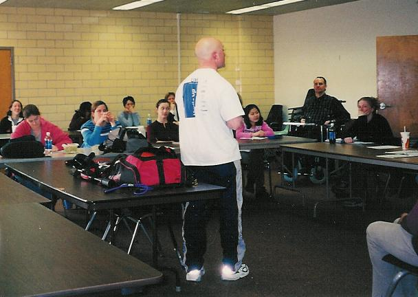 Clint Phillips teaching a personal training certification class at the University of Illinois at Chicago